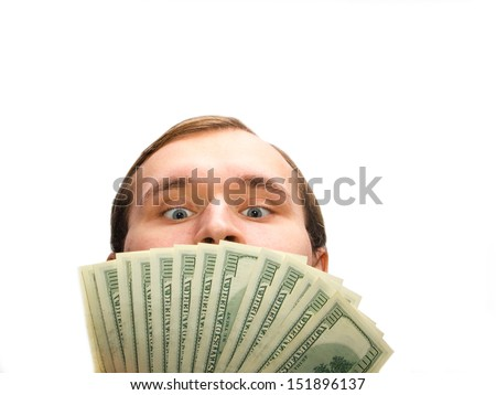 Greedy man with 100 dollar banknotes on the white background. - stock photo