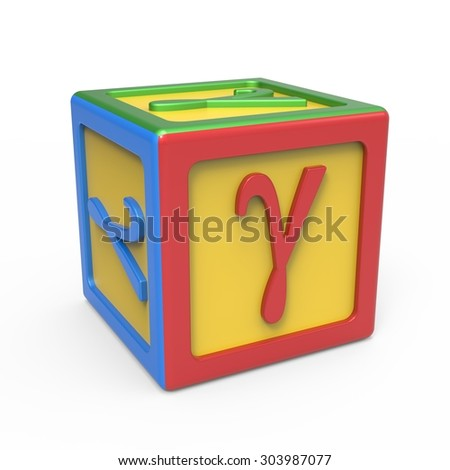 Greek alphabet toy block - letter Gamma - stock photo
