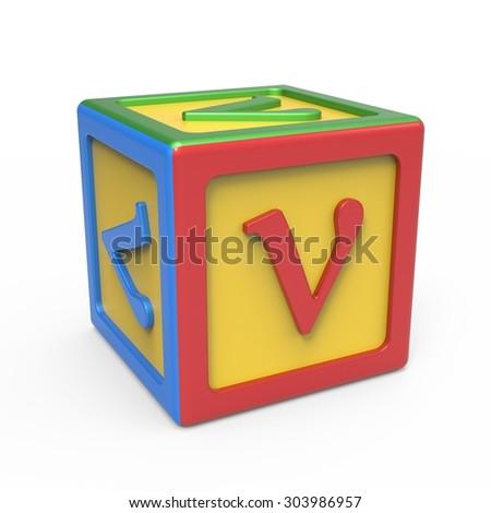 Greek alphabet toy block - letter Nu - stock photo