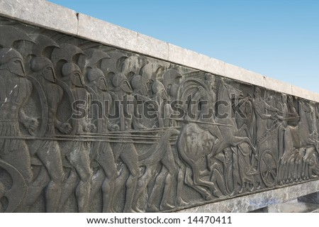 Greek ancient alike plaque at Great Alexander monument at Thessaloniki, Greece - stock photo