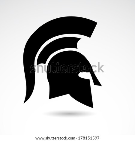 Greek, ancient helmet icon isolated on white background. - stock photo