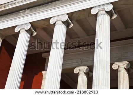 Greek Building with Column,pillar - stock photo