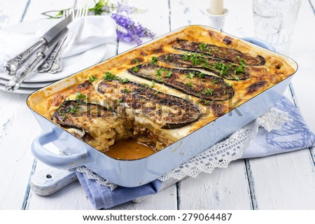 greek casserole dish - Moussaka - stock photo