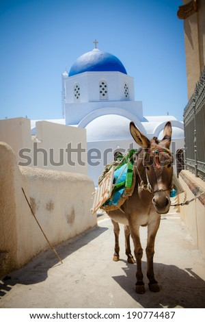 Greek Church and Cross - Santorini - stock photo