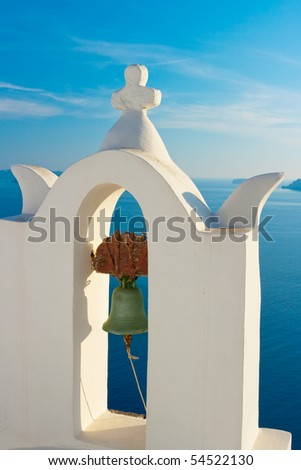 Greek church bell tower, Santorini, Greece - stock photo