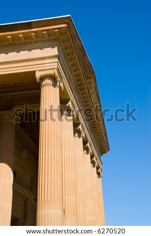 Greek Classical style facade of Art gallery - Ionic. - stock photo