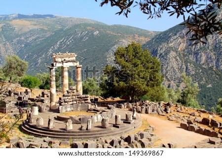 Greek Delphi Temple - stock photo