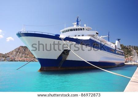 Greek Ferry boat in harbor of town,  Zakynthos  Island - stock photo