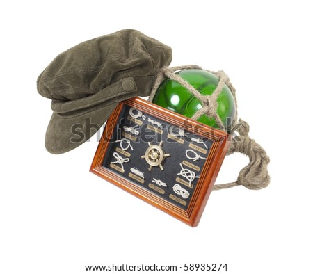 Greek fisherman cap with a knot tying guide with a glass float - path included - stock photo