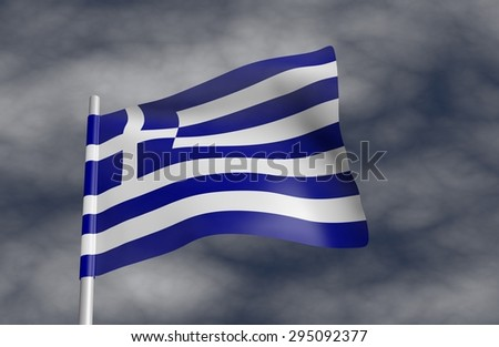 Greek flag on a background of stormy sky. - stock photo