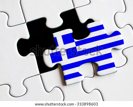 Greek flag on missing puzzle. Greek Debt Crisis concept. - stock photo