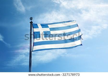 Greek flag on the mast - stock photo