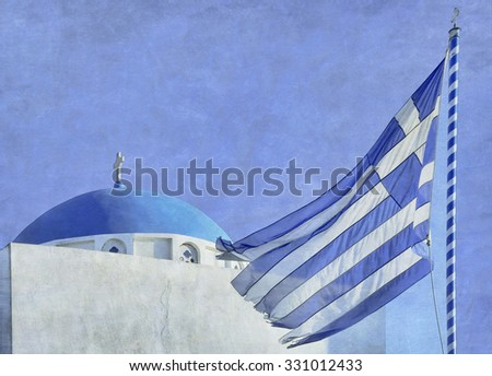 Greek Flag Waving in Front of a Blue-Domed Church in Sanorini, Greece - stock photo