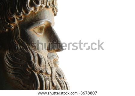 Greek god in profile - stock photo
