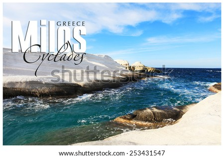 Greek holidays - beautiful island Milos. Blank for a card - stock photo