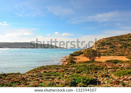 Greek Island of Rhodes With The Rugged Coast - stock photo