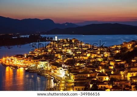 Greek island Poros at night, Greece, 2009 - stock photo