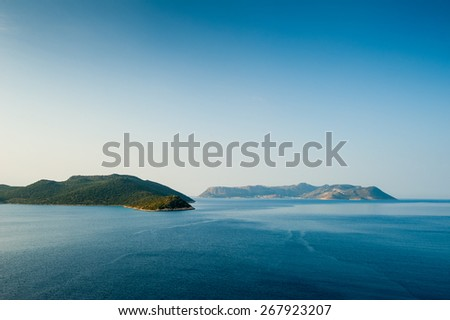 Greek islands in the Mediterranean Sea to the coast of Turkey - stock photo