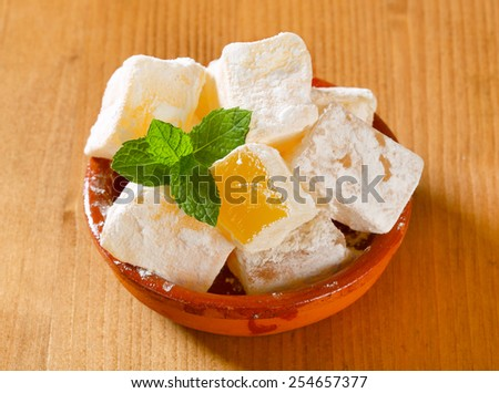 Greek loukoumi (Turkish delight) with delicious Mastic flavor - stock photo