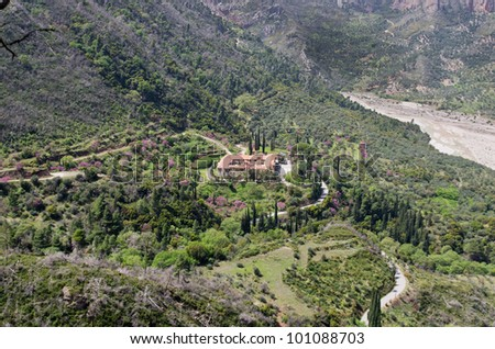 Greek monastery of Taxiarches in Greece Aigion from high view - stock photo