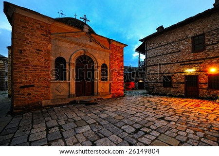 Greek Monastery on Mount Athos at dawn, Chalkidiki, Greece - stock photo