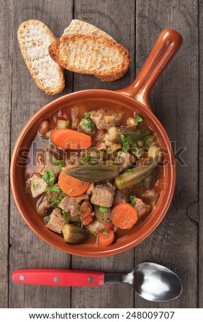 Greek moussaka dish with eggplant and miced meat - stock photo