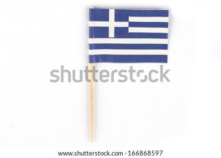 Greek national flag on bright background - stock photo