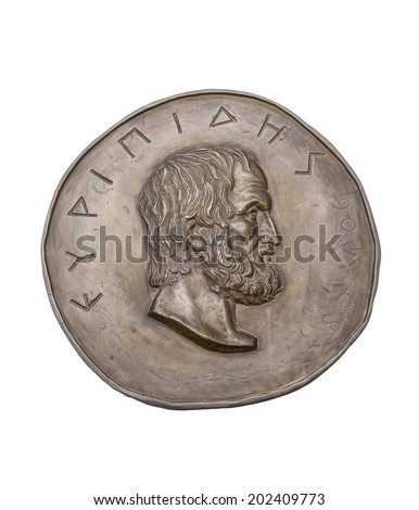 Greek Novelist Euripides on Ancient Bronze Medal - stock photo