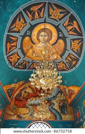 Greek Orthodox church interior,Bethany - stock photo