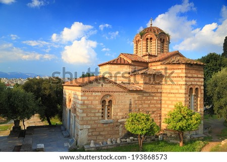 Greek orthodox church near the Athens Acropolis, Greece - stock photo