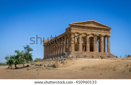 Greek ruins of Concordia Temple in the Valley of Temples - Agrigento, Sicily, Italy - stock photo