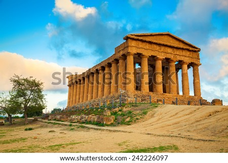 Greek ruins of Concordia Temple in the Valley of Temples near Agrigento, Sicily - stock photo
