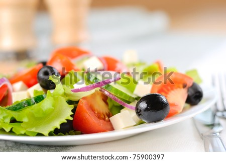 Greek salad in the white plate closeup shot - stock photo