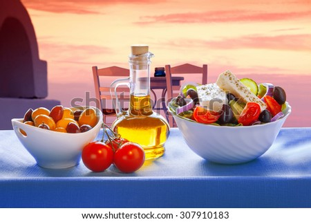Greek salad  on Santorini island in Greece - stock photo