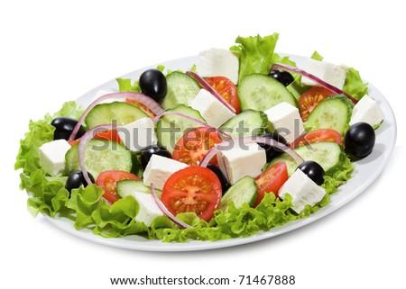 greek salad on white background - stock photo