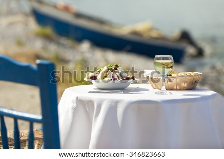 greek salad outdoor in summer  - stock photo