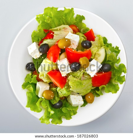Greek salad top view - stock photo