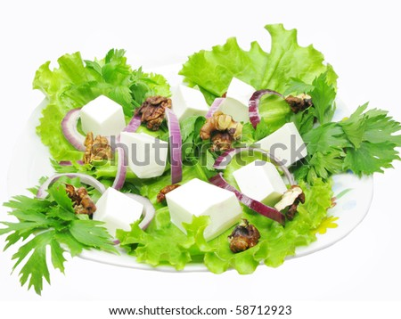 greek salad with cheese olive and walnut - stock photo