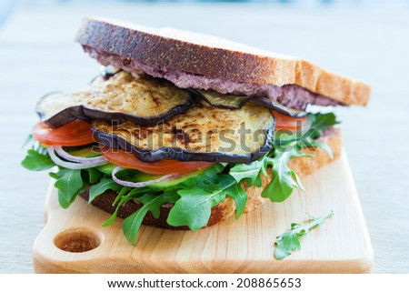 Greek sandwich with feta cheese, olives, eggplant, tomanto, cucumber and rocket - stock photo