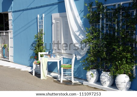 Greek scene in an island - stock photo