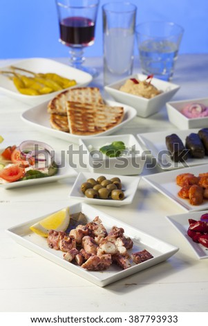greek starters with wine  - stock photo