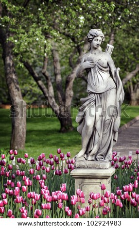 Greek statue of a girl - stock photo