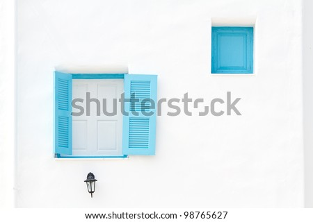 Greek Style windows - stock photo