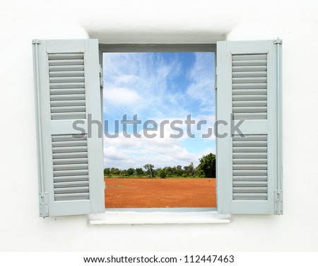 Greek Style windows  window with nature country view - stock photo
