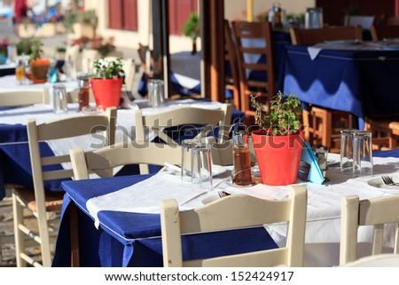 Greek tavern concept - stock photo