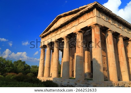 Greek temple well preserved in Ancient Agora, Athens, Greece - stock photo