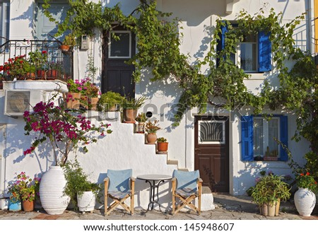 Greek traditional house at Parga town in Greece - stock photo