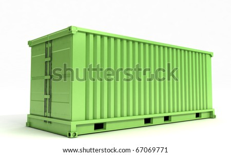Greem cargo container on a white background - stock photo