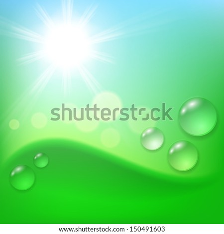 Green abstract background with drop of dew and sun. Raster version. - stock photo