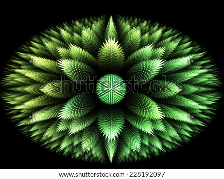 green Abstract fratal flower on black Background  - stock photo